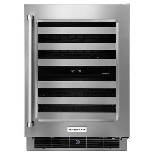 24-inch W Wine Fridge for 46 Bottles in Stainless Steel - Right Door Swing