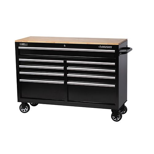52-inch 9-Drawer Mobile Workbench with Solid Wood Top in Black