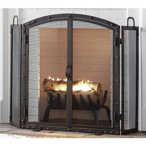 Home Decorators Collection 55-inch Wazee Oil Rubbed Bronze 3-Panel Fireplace Screen with 2 Doors