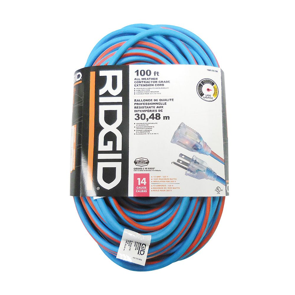 RIDGID 100 Feet All Weather Contractor Grade Extension Cord 14 Gauge