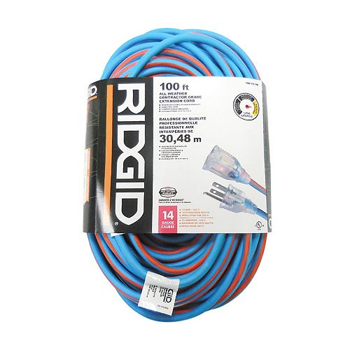 100 Feet All Weather Contractor Grade Extension Cord 14 Gauge