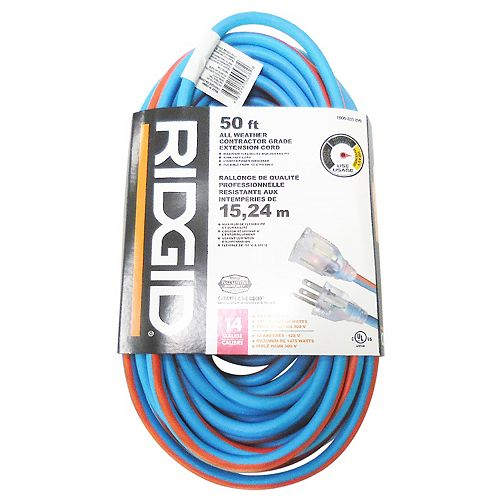 RIDGID 50 Feet All Weather Contractor Grade Extension Cord 14 Gauge
