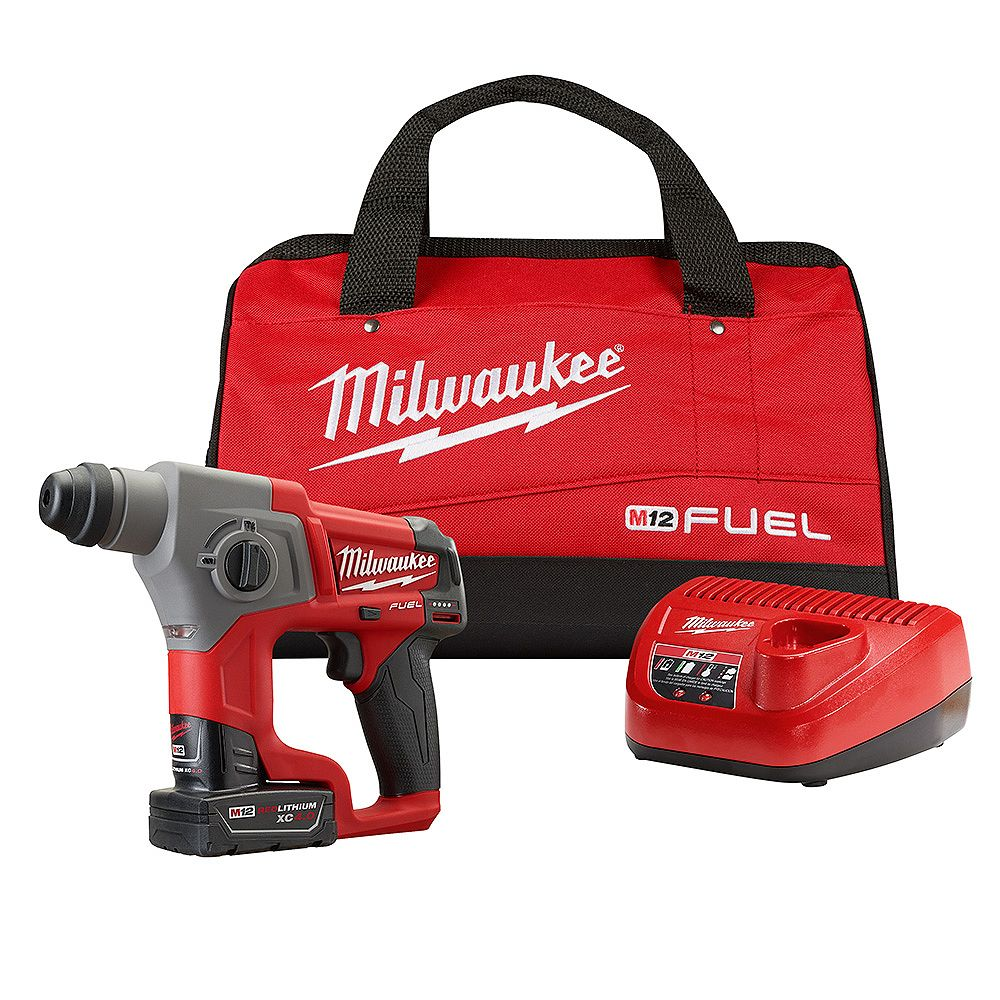 Milwaukee Tool M12 FUEL 12V Lithium-Ion 5/8-Inch Brushless Cordless SDS-Plus Rotary Hammer Kit W/ 4.0h Battery