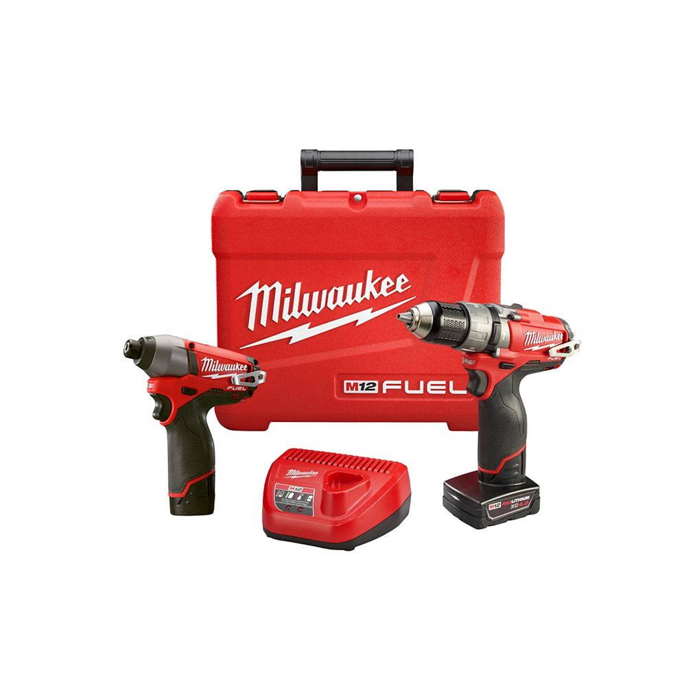 Milwaukee Tool M12 FUEL 12V Lithium-Ion Brushless Cordless 1/2-Inch Hammer Drill & Impact Driver Combo Kit