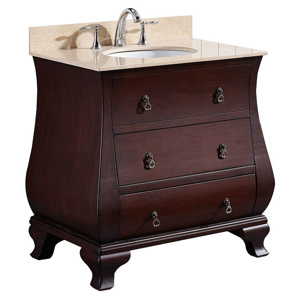 American Imaginations 32 po. larg. x 22 po. prof. Traditionnelle birch wood-placage vanity set en noyer