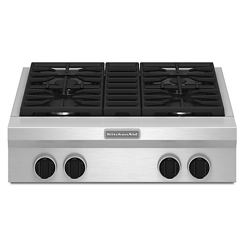 30-inch Gas Cooktop in Stainless Steel with 4 Burners including Ultra Power Dual-Flame Burner