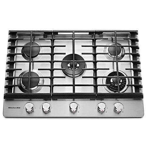 Table de cuisson à gaz de 30 po en acier inoxydable avec 5 brûleurs, y compris les brûleurs professionnels à deux niveaux, torches et mijotés.