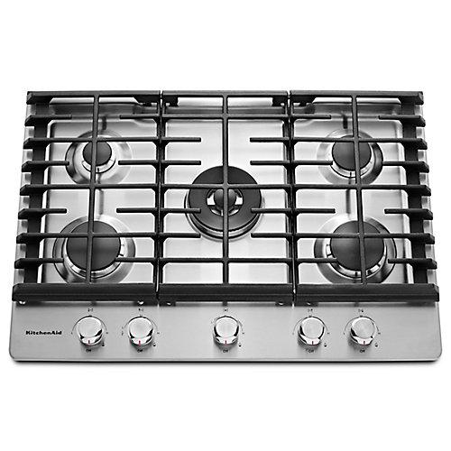 Table de cuisson à gaz de 30 po en acier inoxydable avec 5 brûleurs, y compris un brûleur annulaire double professionnel