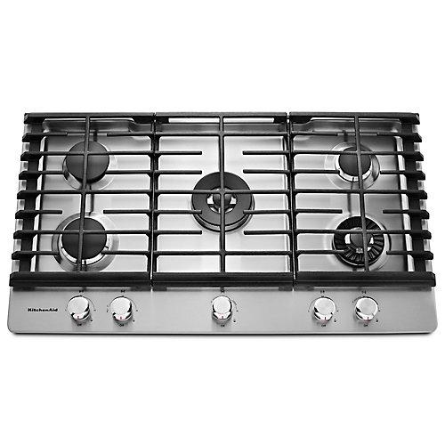 Table de cuisson à gaz de 36 po en acier inoxydable avec 5 brûleurs, y compris les brûleurs professionnels à deux niveaux, torches et mijotateurs.