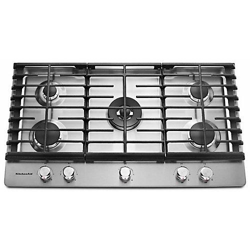 Table de cuisson à gaz de 36 po en acier inoxydable avec 5 brûleurs, y compris un brûleur professionnel à deux niveaux et un brûleur à mijoter.