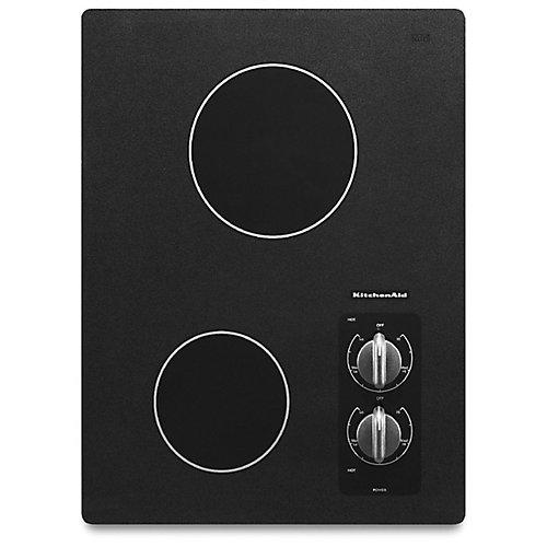 Table de cuisson électrique de 15 pouces en noir avec 2 éléments rayonnants