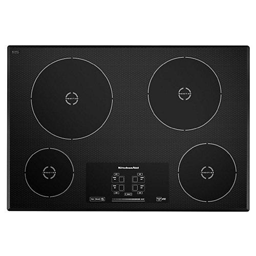 Table de cuisson à induction de 30 pouces en noir avec 4 éléments
