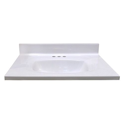 31-Inch W x 22-Inch D Vanity Top in White with Rectangular Recessed Bowl