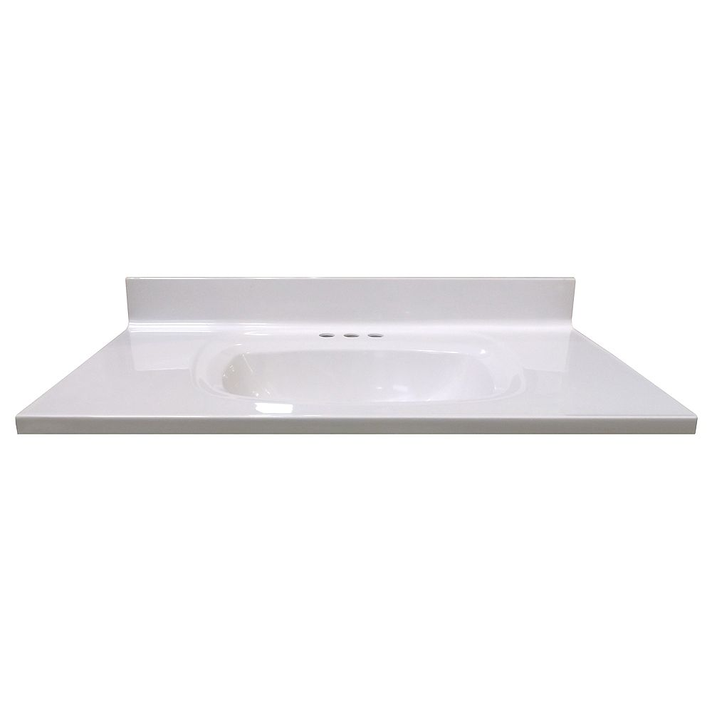 Magick Woods 37-Inch W x 22-Inch D Vanity Top in White with Rectangular Recessed Bowl