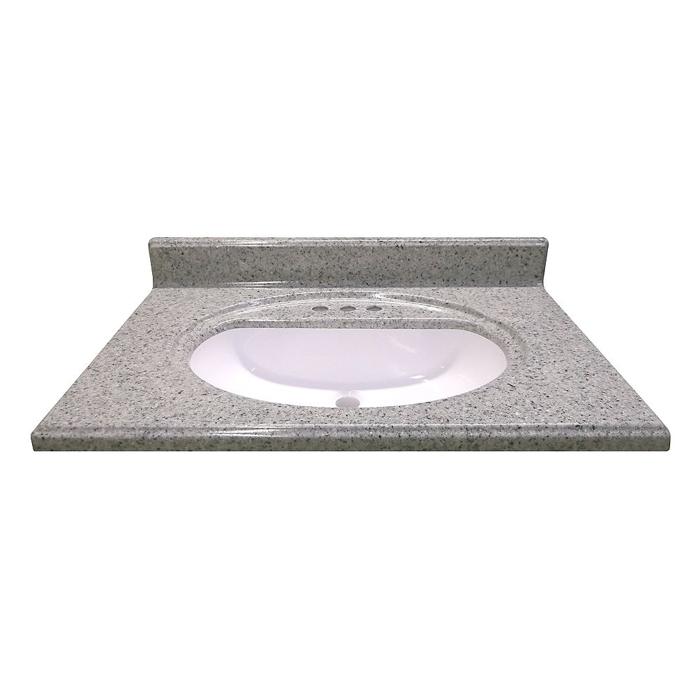 Magick Woods 31-Inch W x 22-Inch D Cultured Granite Vanity Top in Luna Moonscape with Recessed Bowl