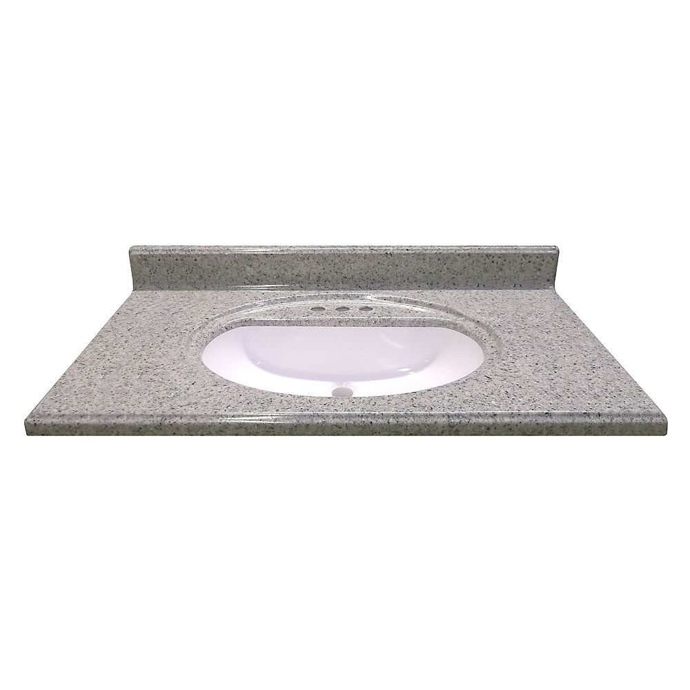Magick Woods 37-Inch W x 22-Inch D Cultured Granite Vanity Top in Luna Moonscape with Recessed Bowl