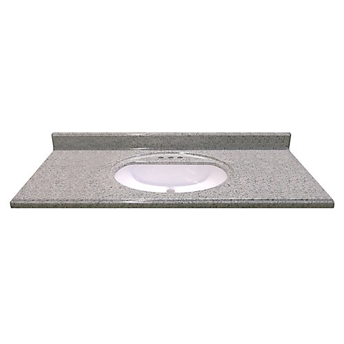 49-Inch W x 22-Inch D Cultured Granite Vanity Top in Luna Moonscape with Recessed Bowl