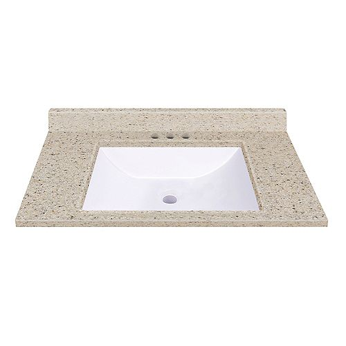 37-Inch W x 22-Inch D Vanity Top in Dune with Wave Bowl