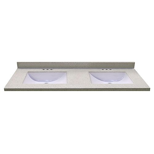 61-Inch W x 22-Inch D Vanity Top in Dune with 2 Wave Bowls