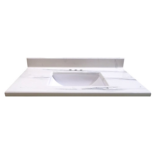 37-Inch W x 22-Inch D Montreal Italian Marble Vanity Top in White