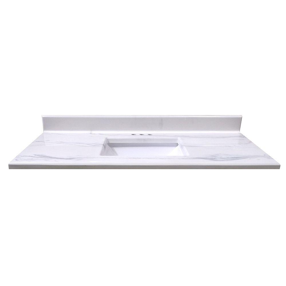 Magick Woods Comptoir blanc italien Montréal - lavabo rectangulaire à fond incurvé - 1,24 m[49po]Lx55,8cm[22po]P