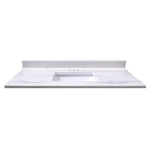 49-Inch W x 22-Inch D Montreal Italian Marble Vanity Top in White