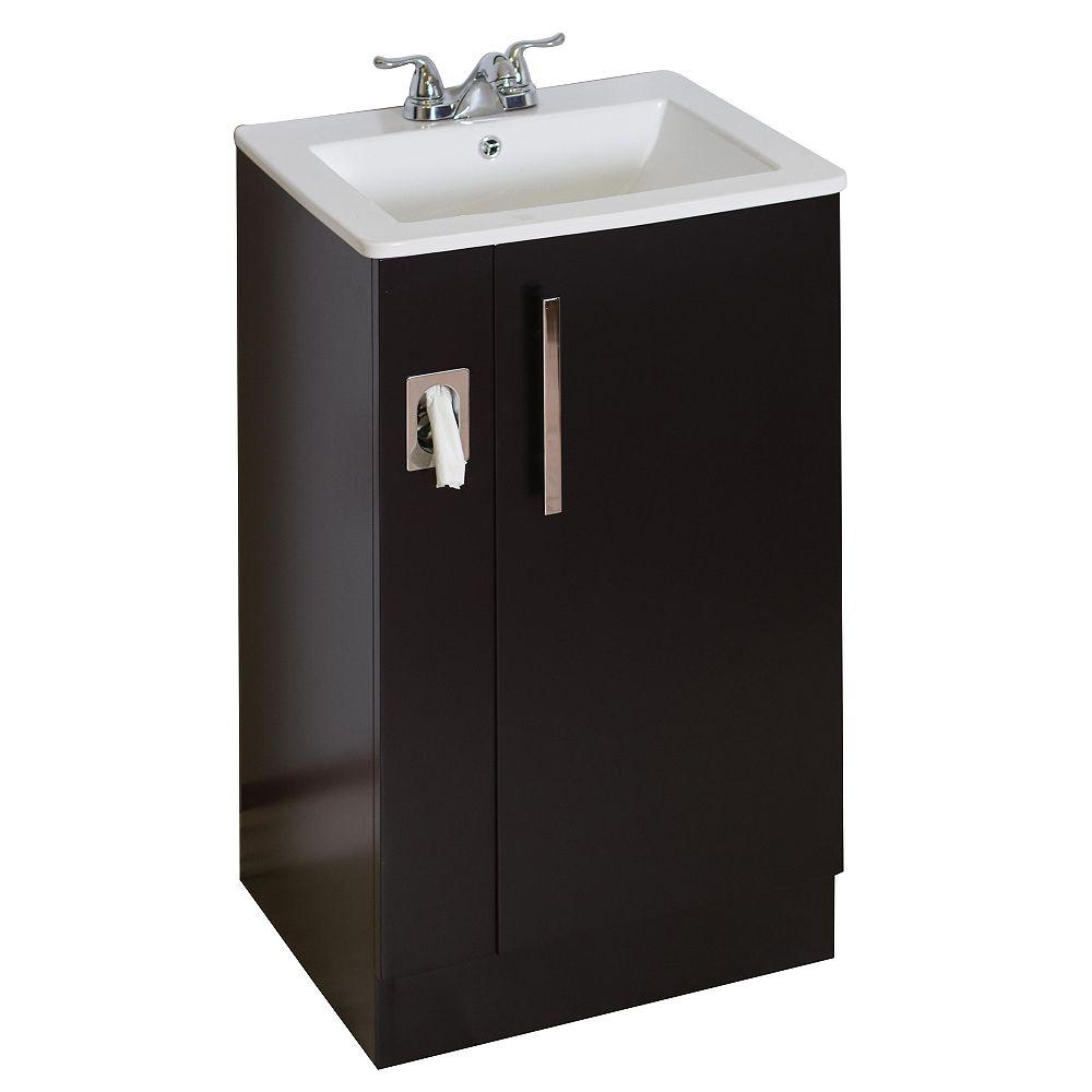 American Imaginations 20 po. larg. x 17 po. prof. Traditionnelle birch wood-placage base de meuble-lavabo seulement en dark walnut terminer