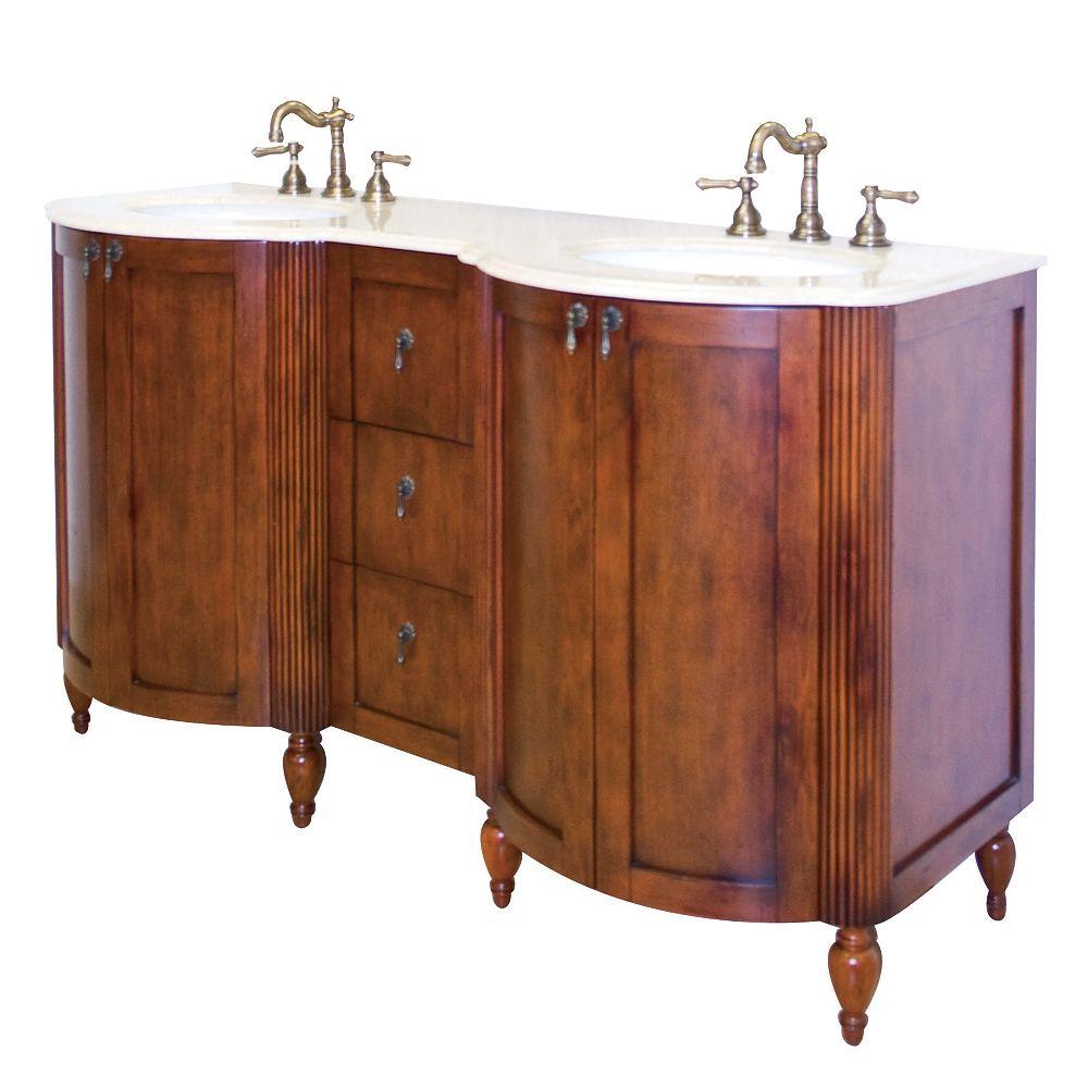 American Imaginations 59 po. larg. x 21 po. prof. Traditionnelle birch wood-placage base de meuble-lavabo seulement en antique fini cerisier