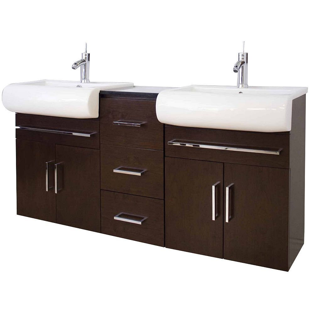 American Imaginations 72 po. larg. x 18 po. prof. Transitional support mural birch wood-placage vanity set en noyer terminer