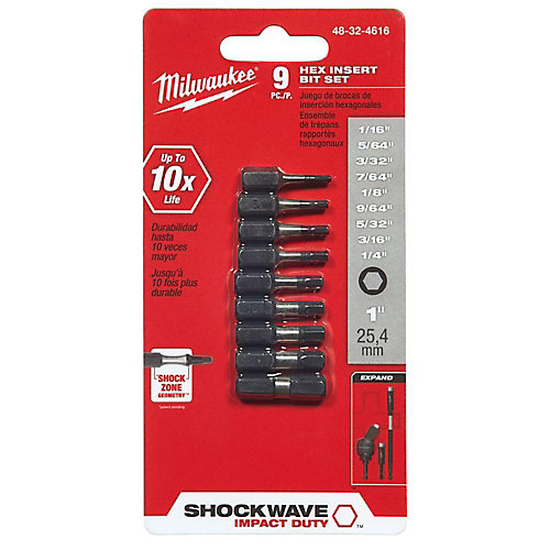 Shockwave 9Pc Impact Hex Insert Bit Set