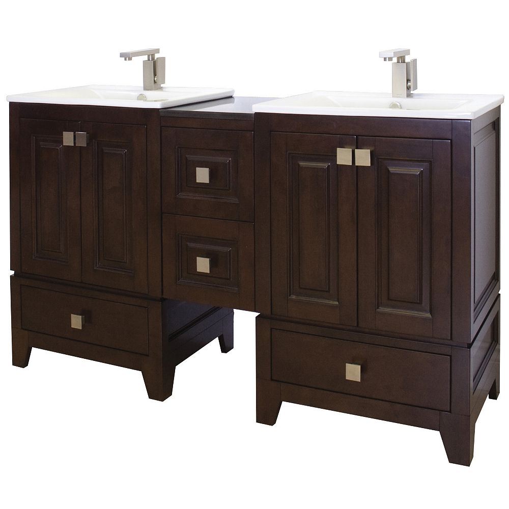 American Imaginations 58 po. larg. x 18 po. prof. Transitional birch wood-placage vanity set dans tabac terminer