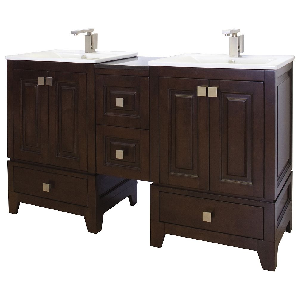 American Imaginations 74 po. larg. x 18 po. prof. Transitional birch wood-placage vanity set dans tabac terminer