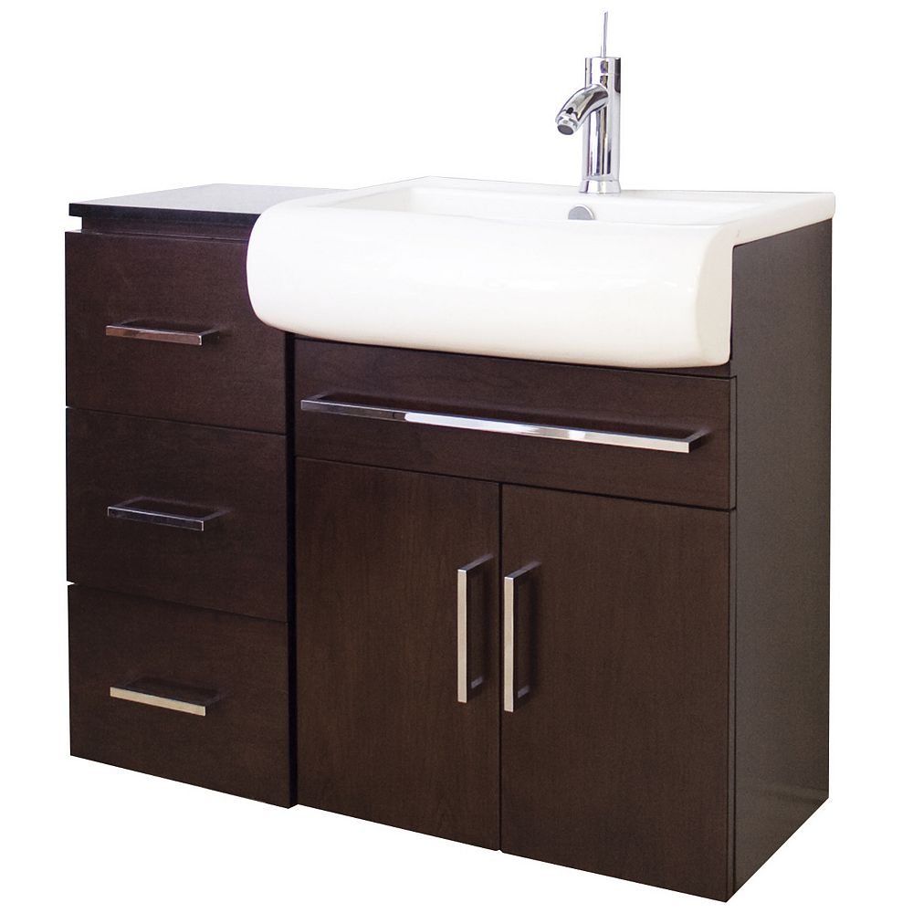 American Imaginations 36 po. larg. x 18 po. prof. Transitional support mural birch wood-placage vanity set en noyer terminer