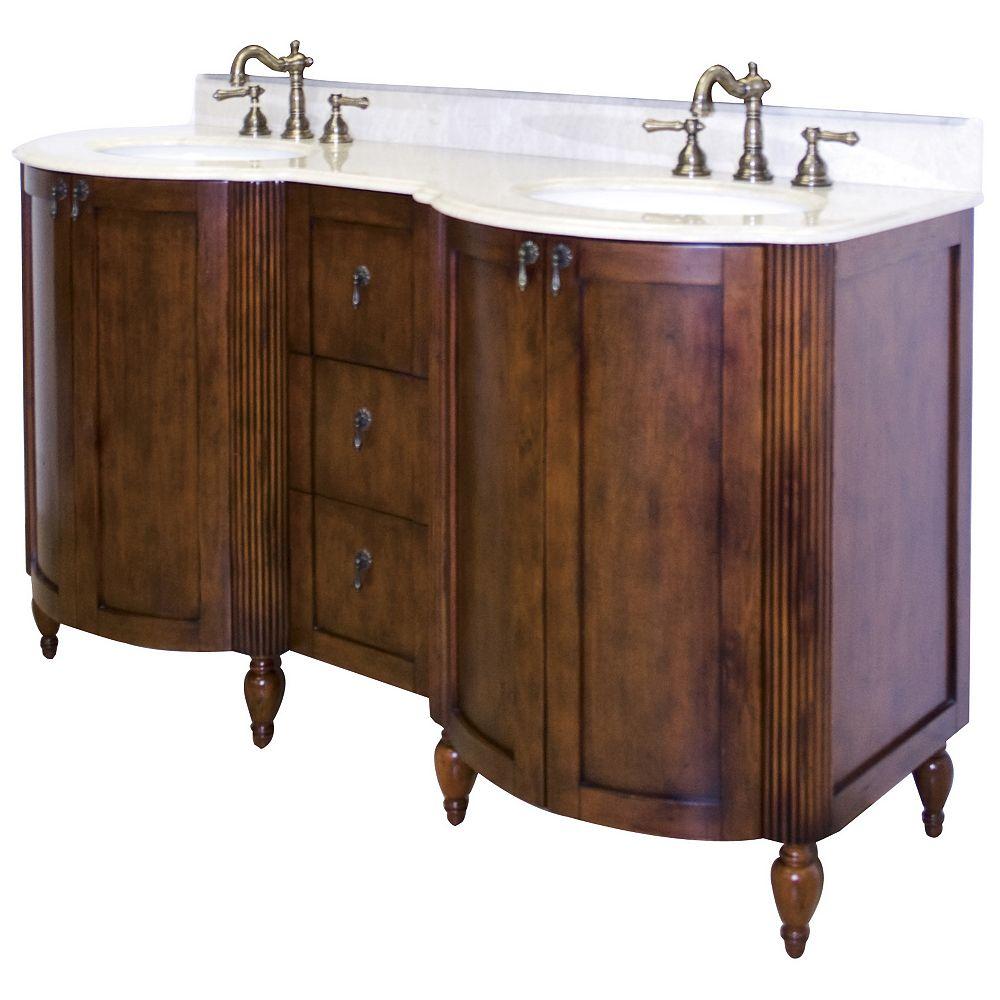 American Imaginations 60 po. larg. x 22 po. prof. Traditionnelle birch wood-placage vanity set en antique fini cerisier