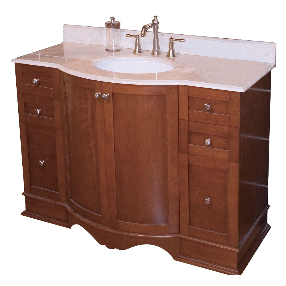 American Imaginations 47 po. larg. x 22 po. prof. Traditionnelle birch wood-placage base de meuble-lavabo seulement à  cherry terminer