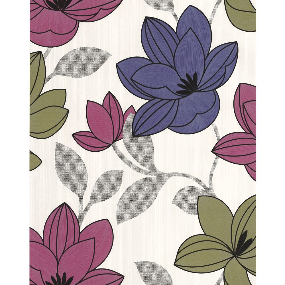 Superfresco Superflora Papier Peint Rose et Violet - échantillon