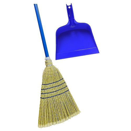 Quickie Poly Corn Broom with Bonus Blue Dust Pan