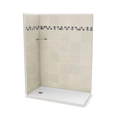 MAAX Utile 32-inch x 60-inch Corner Shower Stall in Stone Sahara