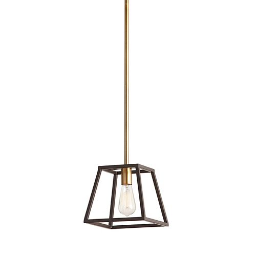 1-Light 60W Gold Pendant with Dark Bronze Metal Frame Shade