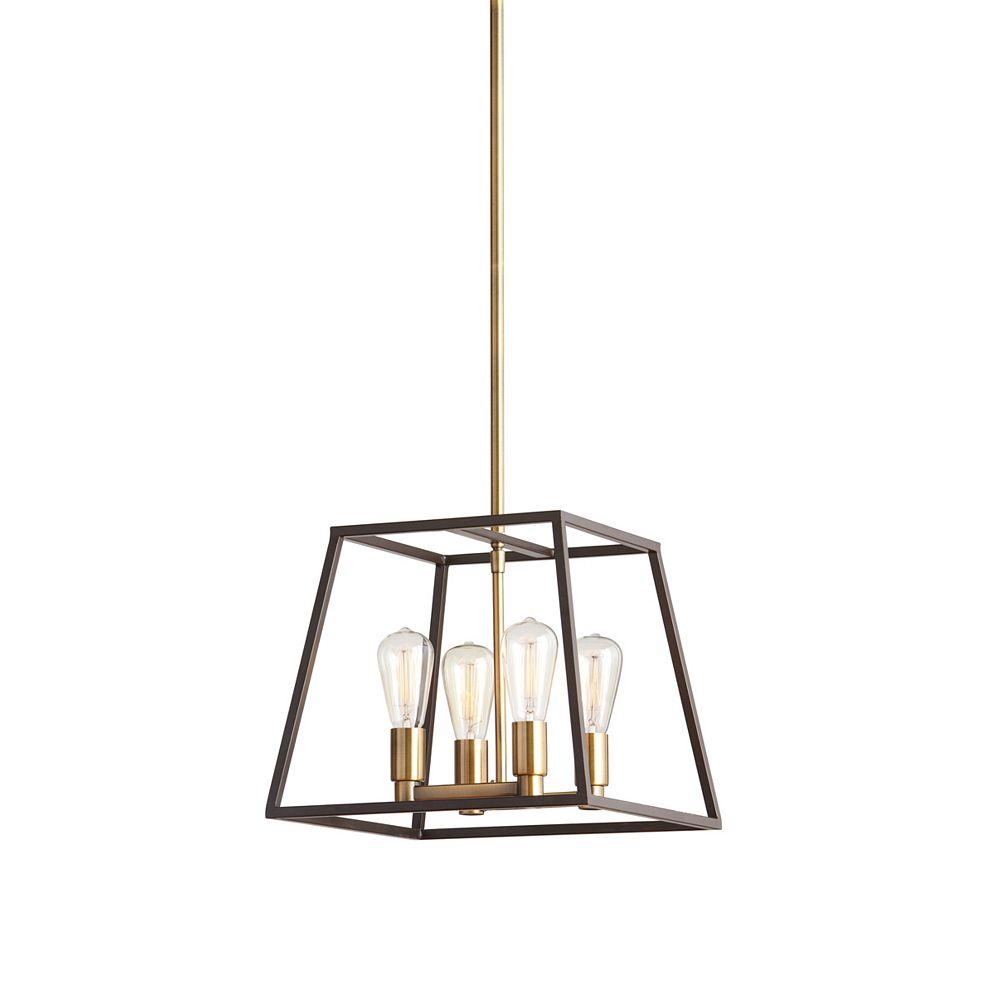 32 Light 32W Gold Pendant Light Fixture with Dark Bronze Metal Frame Shade