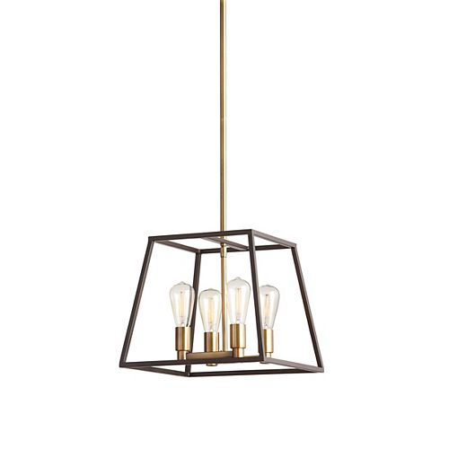 4-Light 60W Gold Pendant Light Fixture with Dark Bronze Metal Frame Shade