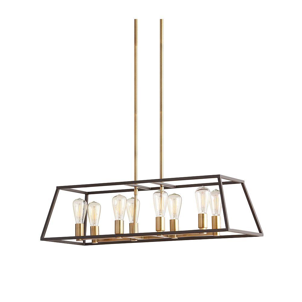 Home Decorators Collection Luminaire suspendu, doré, 8ampoules, 60W, abat-jour à structure métallique bronze foncé