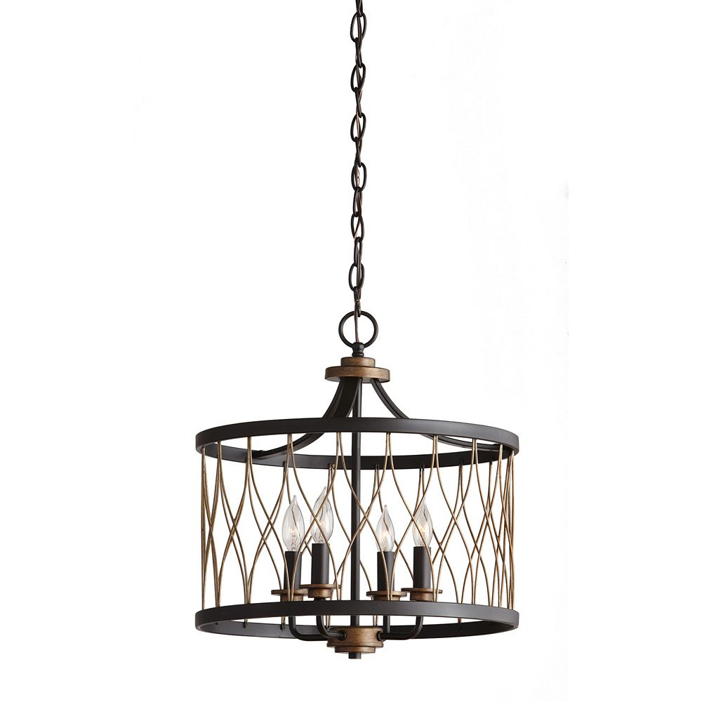 Home Decorators Collection 4 Light 60w Black And Gold Pendant With Geometric Wire Metal Sh The Home Depot Canada