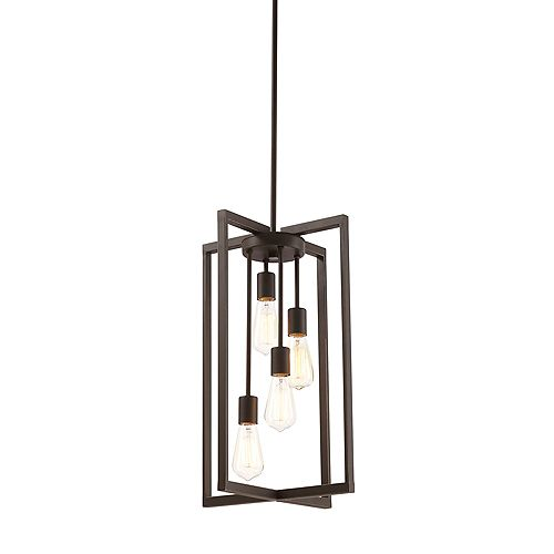 4-Light Pendant Light Fixture in Oil-Rubbed Bronze