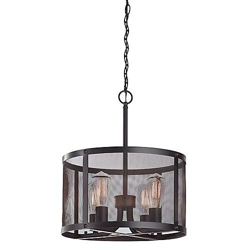 Luminaire suspendu, bronze huilé, 4ampoules, 60W, abat-jour tambour à treillis métallique