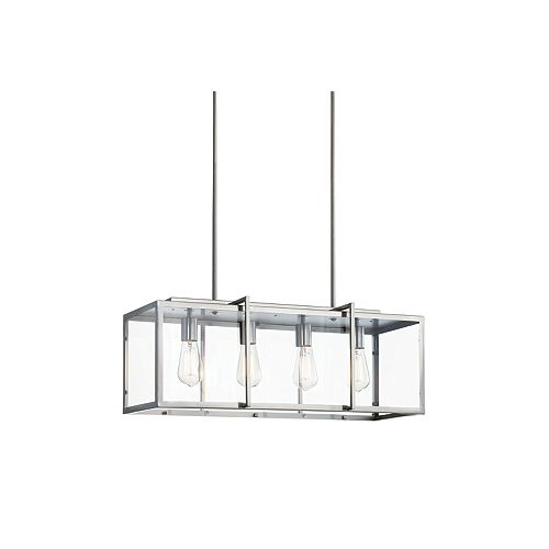 4-Light 60W Brushed Nickel Pendant with Rectangular Clear Glass Shade