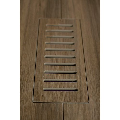 Porcelain vent cover made to match Corte Aged Teak Plank tile. Size - 5-inch x 11-inch