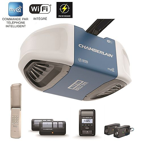 Smartphone-Controlled Ultra-Quiet & Strong Belt Drive Garage Door Opener with Battery Backup