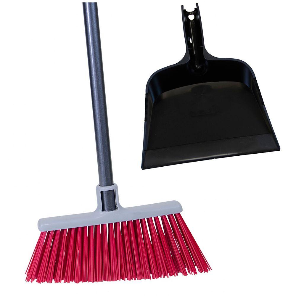 Bulldozer Super Stiff Upright Broom with Bonus Black Dust Pan