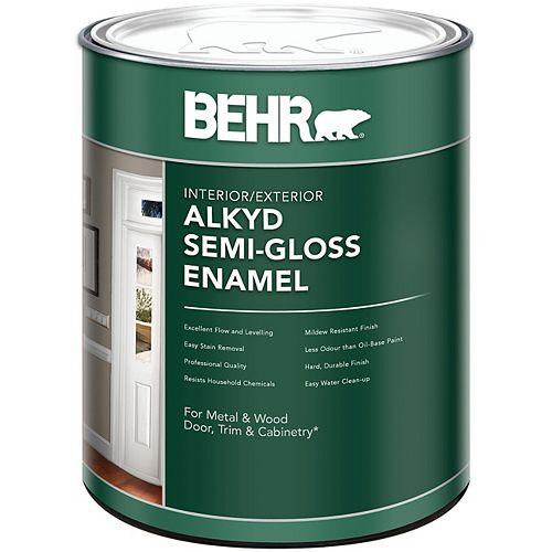 BEHR BEHR Intérieur/extérieur - Peinture émail alkyde semi-brillant - Base moyenne, 946 mL